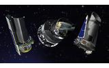 NASAの運用する宇宙望遠鏡。左からスピッツァー、プランク、ケプラーの画像