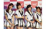 トークライブアプリ「755」CM記者会見でのAKB48(右から)高橋みなみ、渡辺麻友、柏木由紀、小嶋陽菜の画像