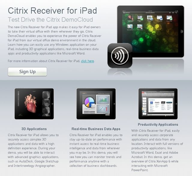 「Citrix Receiver for iPad」紹介ページ
