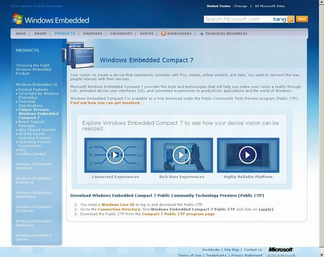 「Windows Embedded Compact 7」サイト