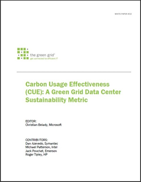 「Carbon Usage Effectiveness (CUE): A Green Grid Data Center Sustainability Metric」表紙