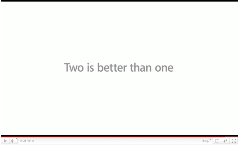 CM終盤に現れる「Two is better than one」