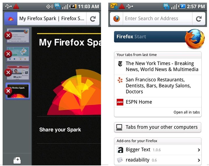 Android版「Firefox 4」