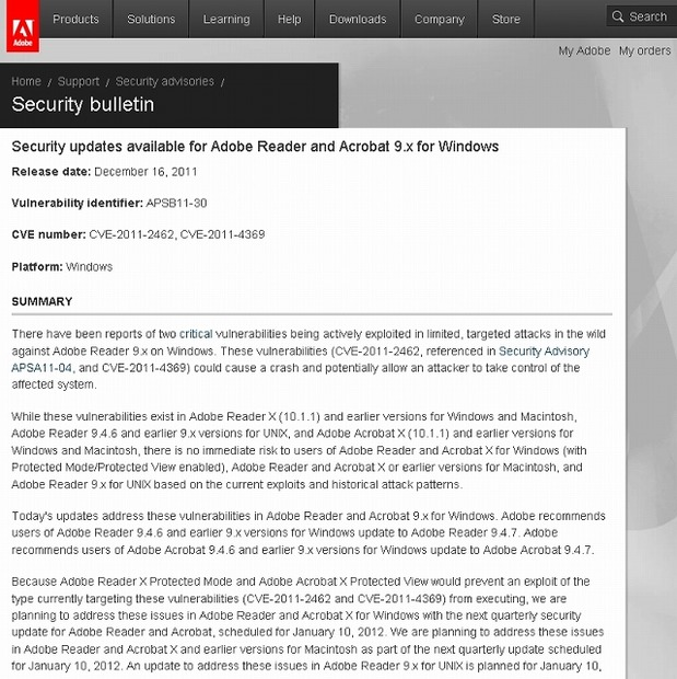 Adobeによるセキュリティアップデート情報(Adobe Security Bulletins APSB11-30)