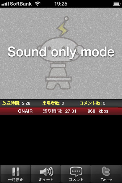 「sound only mode」配信画面