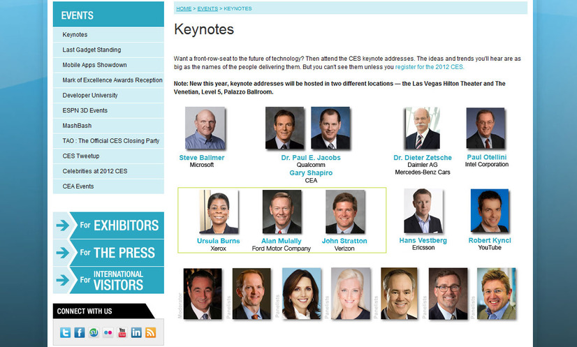 2012 INTERNATIONAL CES Keynotes