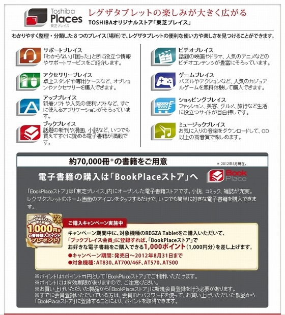 「Book Place」ではREGZA Tablet向けキャンペーンも実施中