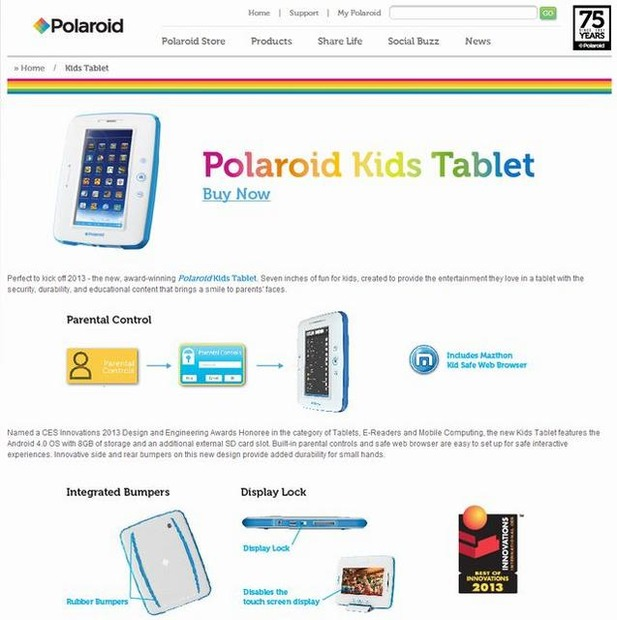 「Polaroid kids tablet」の紹介ページ