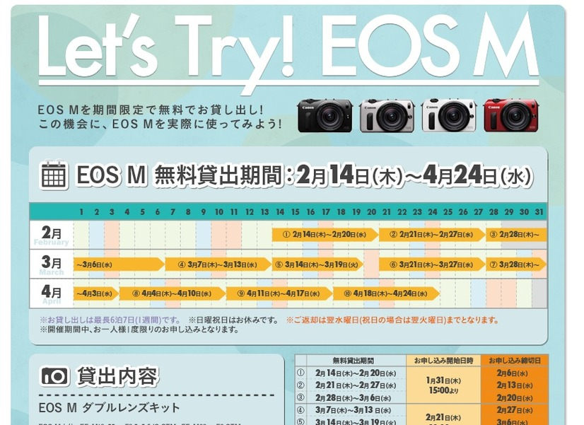 「EOS M Let's Try!キャンペーン」ページ
