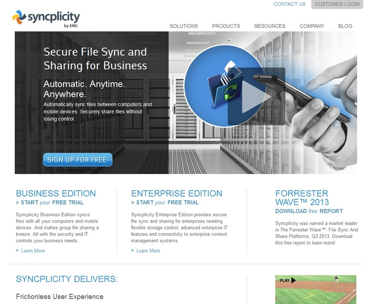 「Syncplicity」サイト