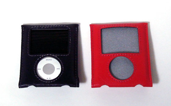 Leather Pouch Case for 3rd iPod nano(左から、ネイビーブルー/レッド)