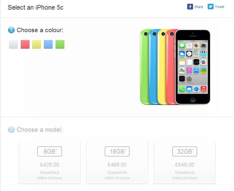 英国Apple StoreのiPhone 5c販売ページ