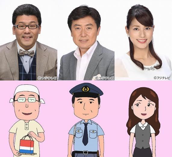 左から軽部真一、笠井信輔、永島優美