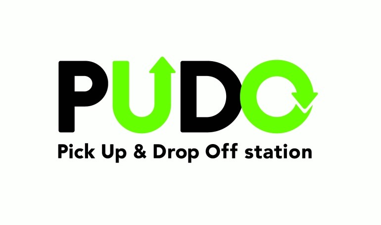 「PUDO」(Pick Up & Drop Off station)ロゴ