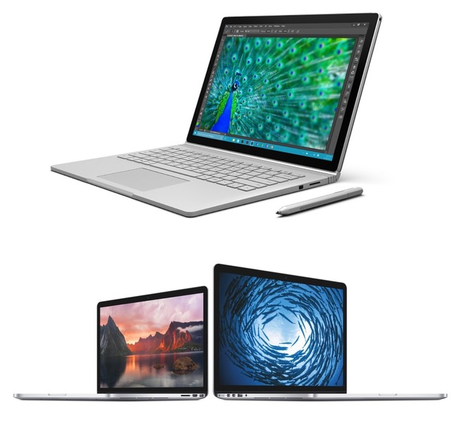 Surface Book(上)と、MacBook Pro with Retina Display(下)