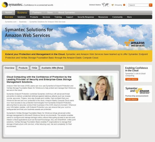 「Symantec Solutions for Amazon Web Services」サイト(画像)