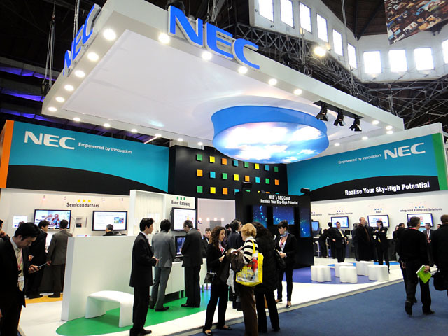 2010 Mobile World Congress会場内のNECブース