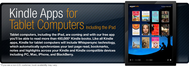 「Kindle Apps for Tablet Computers Including the iPad」