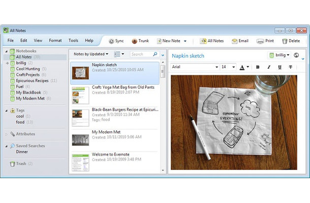 「Evernote 4 for Windows」新画面