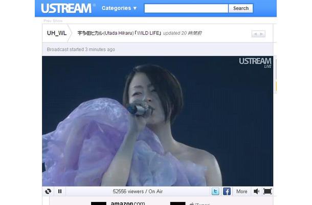 8日にUstreamでライブ中継された宇多田ヒカルのコンサート