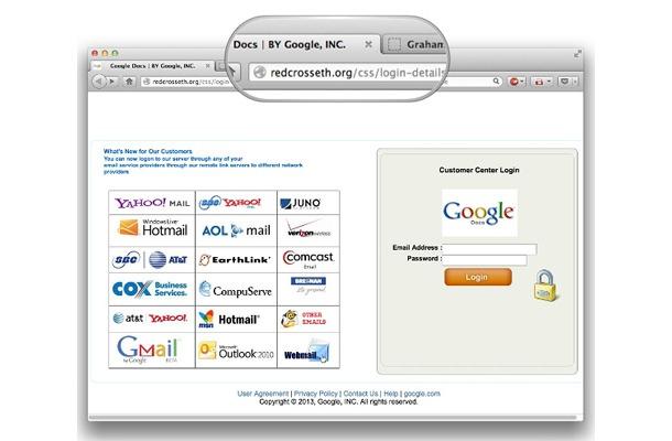 赤十字社のwebサイトを悪用し googleパスワードを盗み出すフィッシング