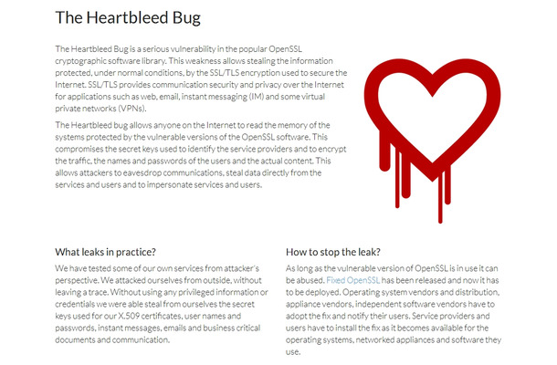 「Heartbleed Bug」サイト