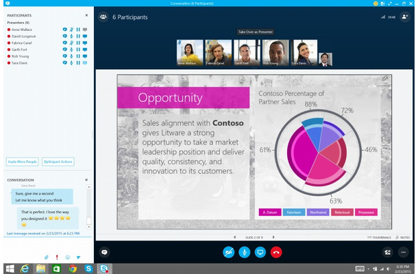 Skype for Business画面イメージ(PC)