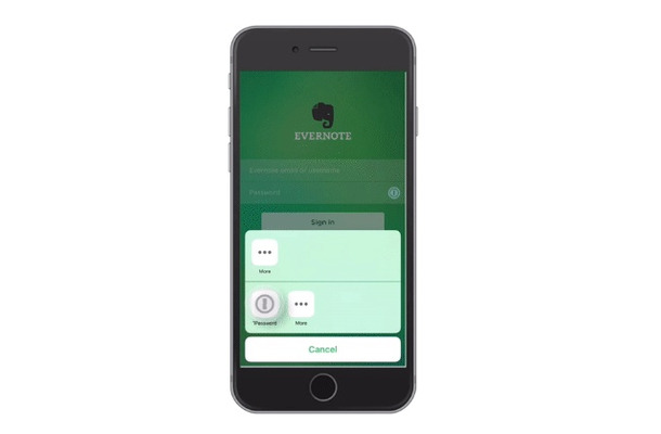 「1Password」を使った「Evernote for iOS」へのログイン画面