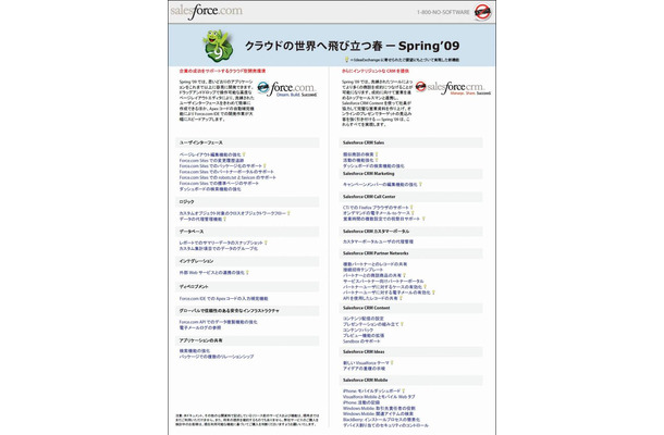 「Salesforce CRM Spring '09」の新機能一覧