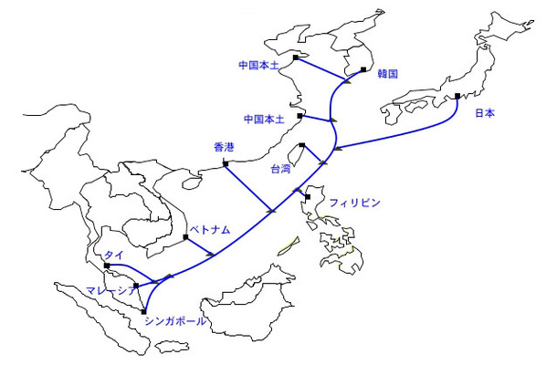 Asia Pacific Gateway予定ルート図