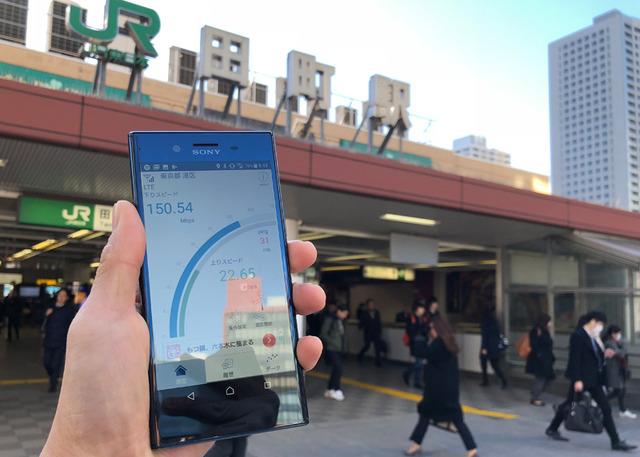 JR田町の駅前では午前中に下り150Mbpsを記録した