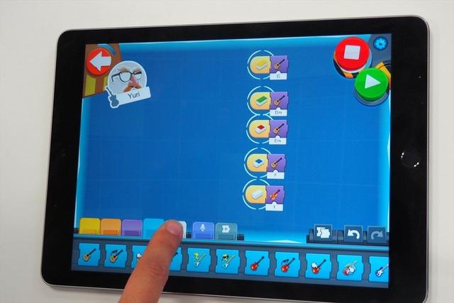 アプリ上で、色に音階と音色を振り分けられる。音楽ファイルを鳴らす、伴奏を流すといったことも可能だ