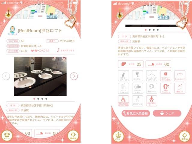 (左)とても便利なトイレ情報。写真付きでどんなトイレかチェックできます。(右)細かいチェック項目が用意されているのが便利