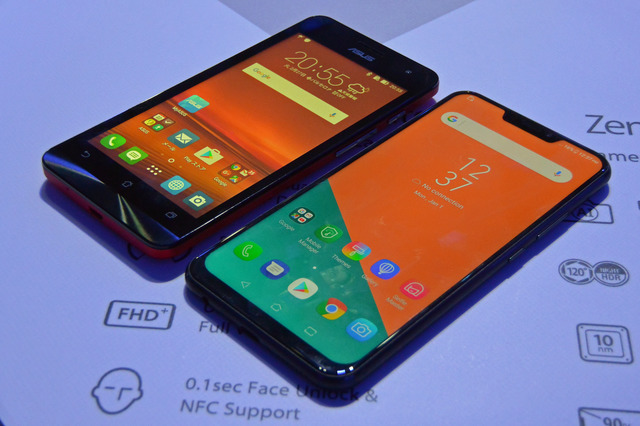旧「ZenFone 5」(左)から大きく形を変えた、新「Zenfone 5」。サイズはあまり変わらないが、ディスプレイは5インチから6.2インチになっている
