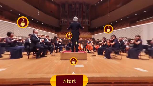 「VRオーケストラ~東京交響楽団~」から。5箇所のカメラ位置から360度の映像を楽しめる。写真は客席からのアングル