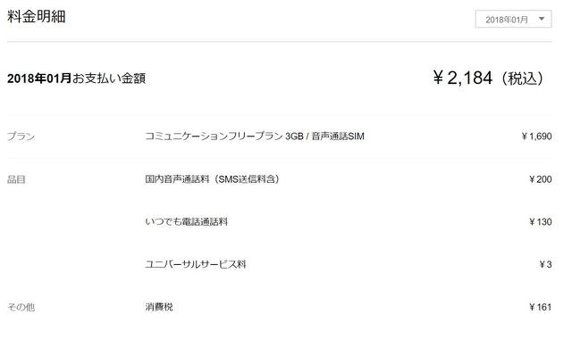 LINEモバイルの1月の請求画面