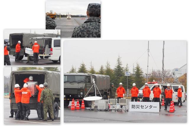 シーン2「可搬型基地局の出動訓練」。途中で陸上自衛隊のトラックに機材を積み替える。防災センターに到着すると、基地局が構築された