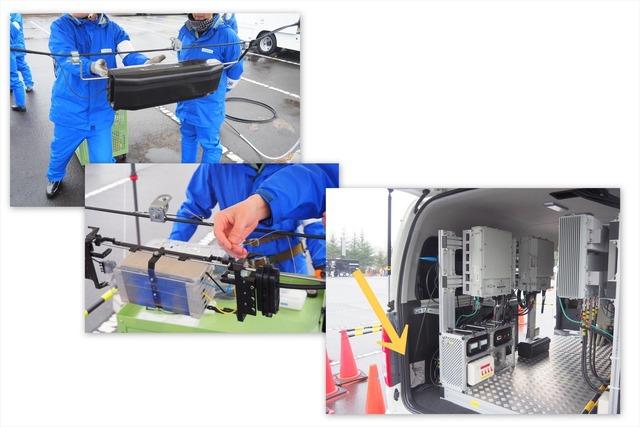 シーン6「UQ車載型基地局とTOHKnetによる避難所支援訓練」。TOHKnetの伝送路(光ケーブル)をUQ車載型基地局に接続する(写真の矢印の部分)