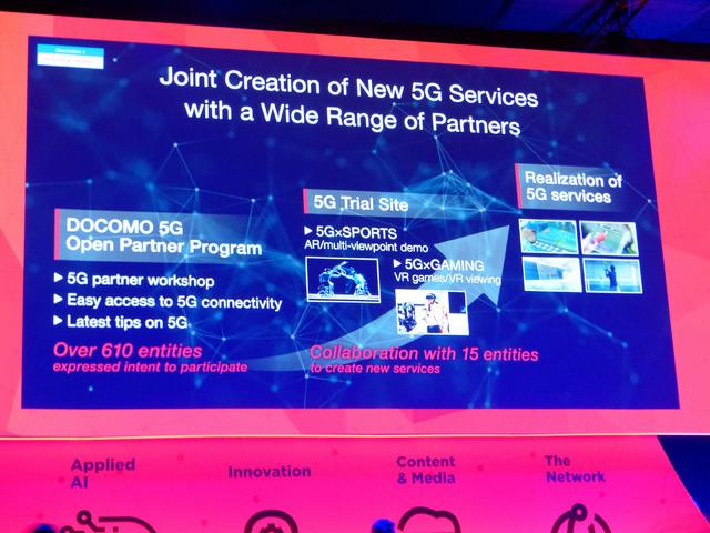 「ドコモ5Gオープンパートナープログラム」ほか、ドコモの5Gサービスについて説明