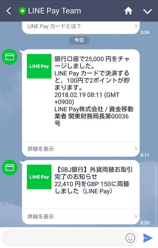 『LINE Pay』の取引は、LINEのトーク画面で確認できる