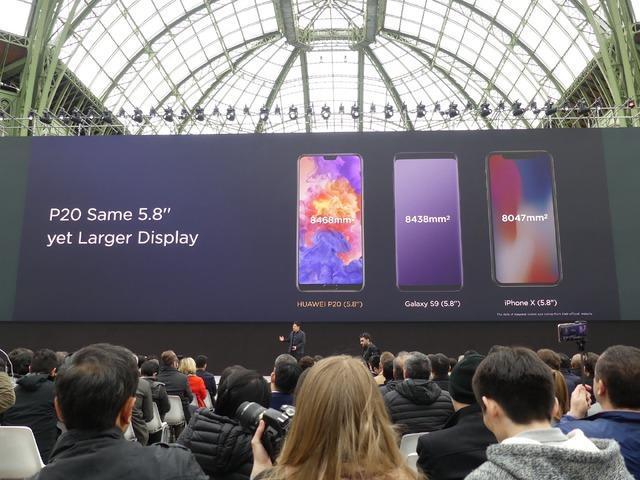 P20は、Galaxy S9やiPhone Xと同じ画面サイズながら面積が大きいとアピール。ノッチの小ささによるものです