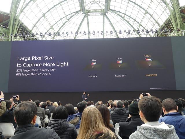 Galaxy S9+、iPhone Xよりも大きなセンサーを採用し、暗い場所でもきれいな写真が撮れるとアピール