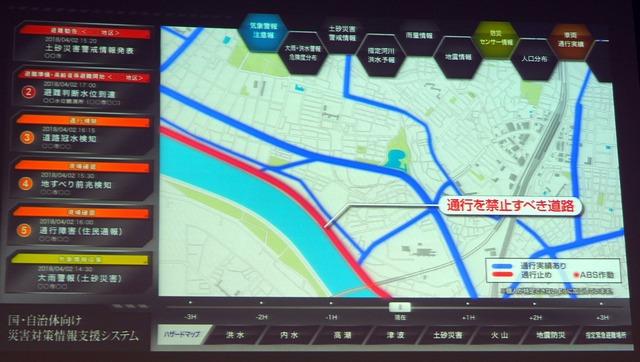 トヨタ自動車では、通行実績を見える化。通れない道路を地図上に表示するだけでなく、近くを通る乗用車にはアラートを発信するなどの対策をしていく