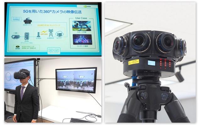 5G×360度カメラ×MECにより、高精細な360度の映像をVR機器でリアルタイムに視聴可能。スポーツ中継やコンサート鑑賞といった用途に利用できる