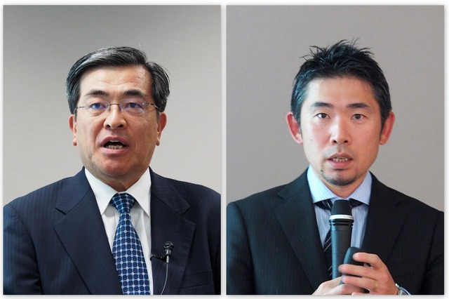 ソフトバンク 代表取締役 副社長執行役員 兼 COOの今井康之氏(左)と、テクノロジーユニット 技術戦略統括 先端技術開発本部 本部長の湧川隆次氏(右)