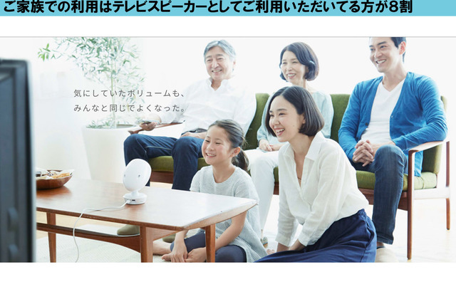 家庭では、テレビの音声出力につなげてテレビスピーカーとして使用している人も多いようだ。(c)2018 UNIVERSAL SOUND DESIGN Inc.