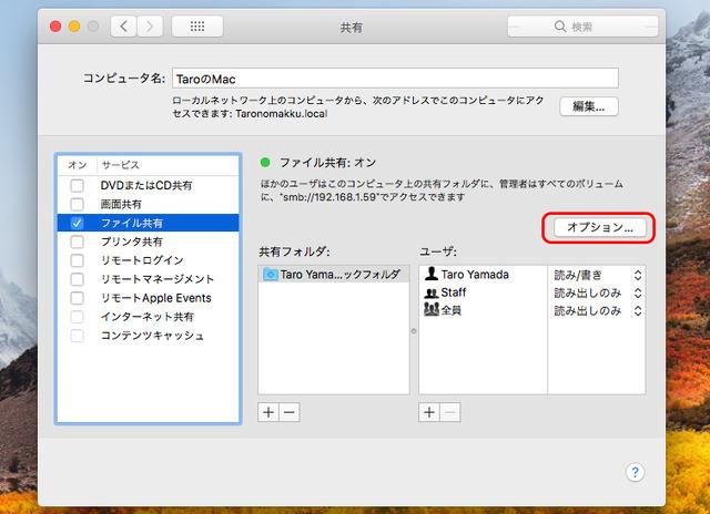左のリストで「ファイル共有」にチェックし、右の「オプション...」ボタンをクリックする