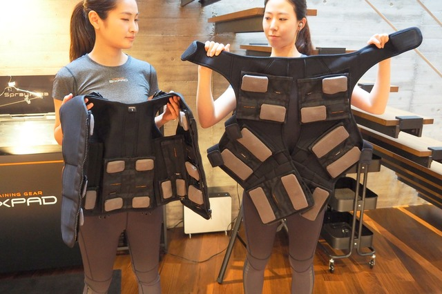 EMSフルボディスーツには9部位18箇所の筋肉部位に電極を配置。筋電気刺激を受けながら身体を動かすことで、全身の筋肉を同時に鍛えることができる