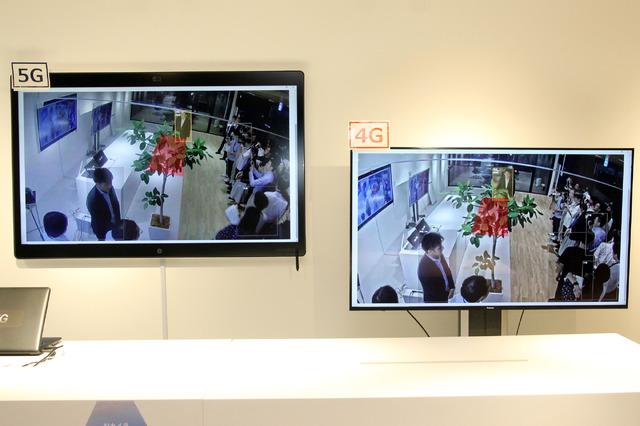 「AIカメラ」について、5Gと4Gで人の映像の分析デモを実施