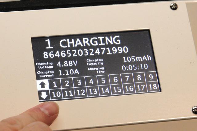 端末の充電時間や充電量を、モニターで個別に確認できる